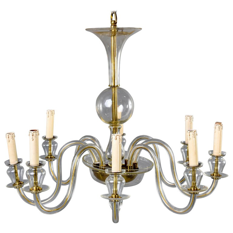 Eight-Arm Pale Amber Murano Glass Chandelier For Sale