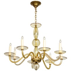 Eight Arms Amber-Colored Murano Glass Chandelier