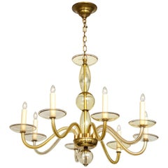 Eight-Arms Amber-Colored Murano Glass Chandelier
