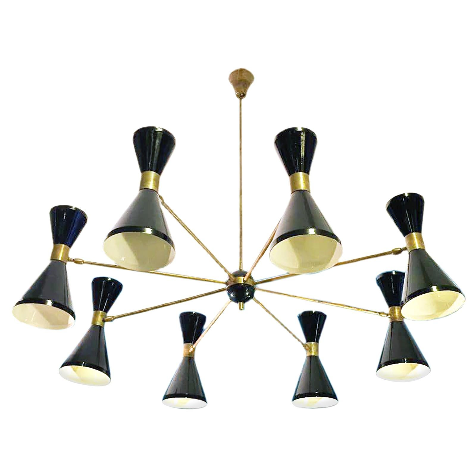 Eight Arms Brass Chandelier, Pivot Shades, Stilnovo Style, Sixteen Bulbs