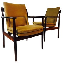 Eight Arne Vodder Dining Chairs with Cognac Alcantara