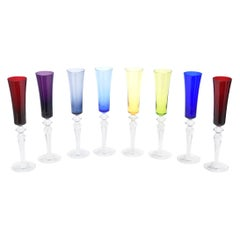 Eight Baccarat Crystal Champagne Flutes Barware