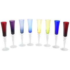 Baccarat Crystal Champagne Flutes Barware Set of Eight