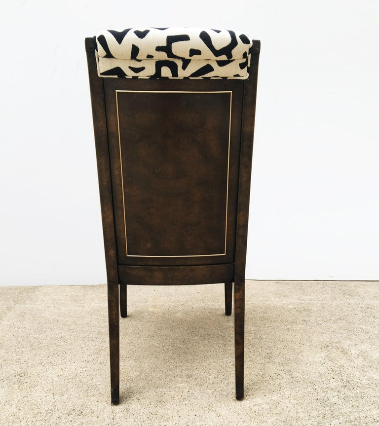 Eight Bernhard Rohne for Mastercraft Burled Parsons Dining Chairs For Sale 4