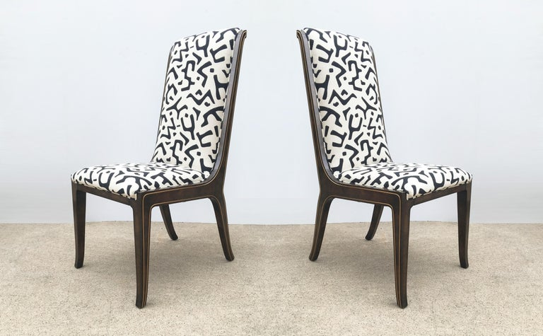 Eight Bernhard Rohne for Mastercraft Burled Parsons Dining Chairs For Sale 6