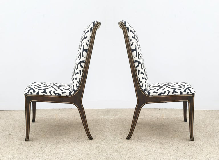 Mid-Century Modern Eight Bernhard Rohne for Mastercraft Burled Parsons Dining Chairs For Sale