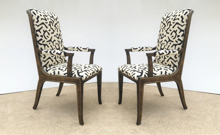 American Eight Bernhard Rohne for Mastercraft Burled Parsons Dining Chairs For Sale