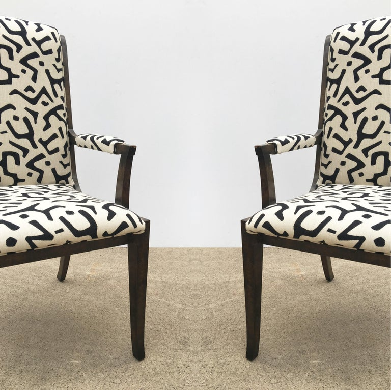 Eight Bernhard Rohne for Mastercraft Burled Parsons Dining Chairs In Good Condition For Sale In Dallas, TX