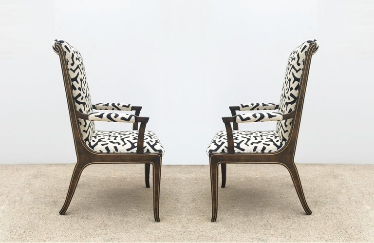 Late 20th Century Eight Bernhard Rohne for Mastercraft Burled Parsons Dining Chairs For Sale