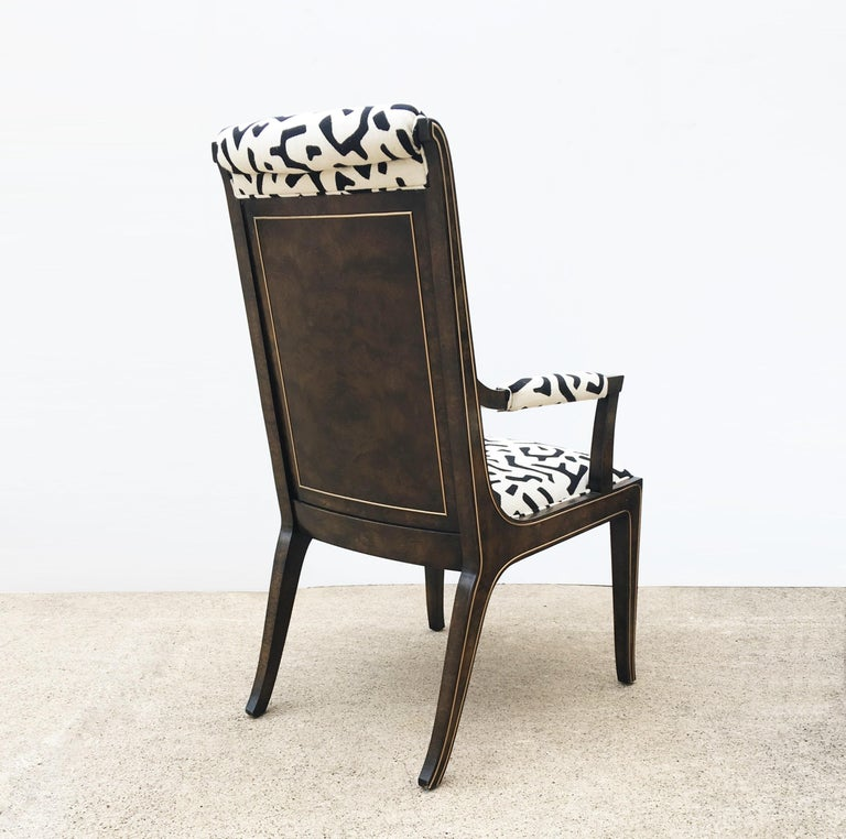 Eight Bernhard Rohne for Mastercraft Burled Parsons Dining Chairs For Sale 1