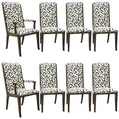 Eight Bernhard Rohne for Mastercraft Burled Parsons Dining Chairs