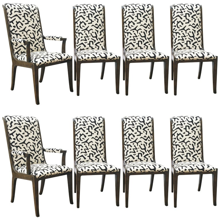 Eight Bernhard Rohne for Mastercraft Burled Parsons Dining Chairs For Sale