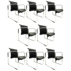 Eight Black Armchairs Designed by Peter Protzman and Alexander Girard for Herman