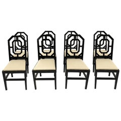 Eight Black Lacquered Chairs