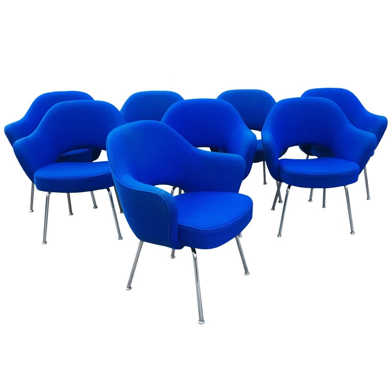 Eight Blue Eero Saarinen for Knoll Executive Chairs For Sale