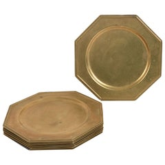 Eight Brass Service Charger, Sub-Plates Octagonal Shape, Italy, 1960s