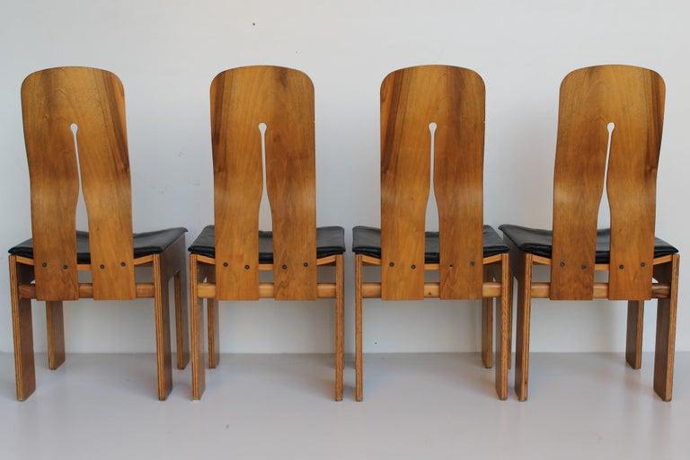 Mid-Century Carlo Scarpa Natural Walnut Italian Chairs Mod 1934-765 Bernini 1977 For Sale 5