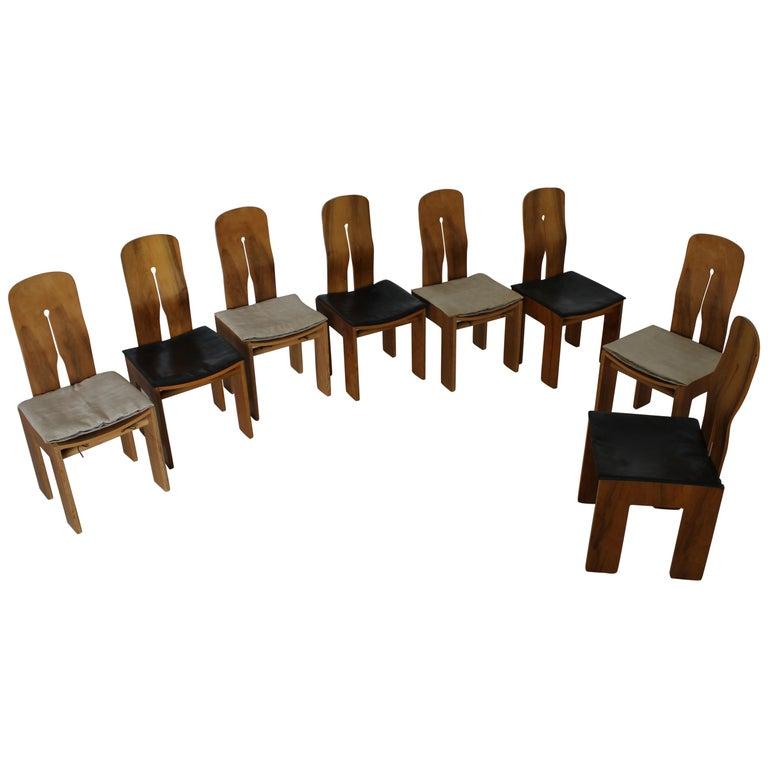 Eight Carlo Scarpa Walnut Chairs Mod 1934/765 for Bernini, 1977 For Sale