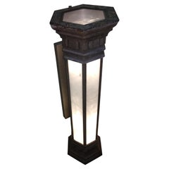 Eight Cast Aluminum w Marbled Glass Panels Outdoor Sconces