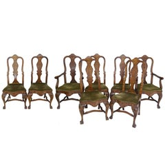 Eight Chairs Dining Chairs Antique, 1880, Walnut With Upholstery