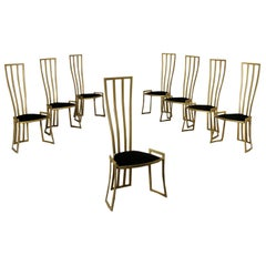 Eight Chairs Marzio Cecchi Enamelled Metal Foam Velvet, Italy, 1980s
