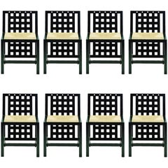 Eight Chairs Model DS3 by Mackintosh Cassina in Ebonized Ashwood, 20th Century