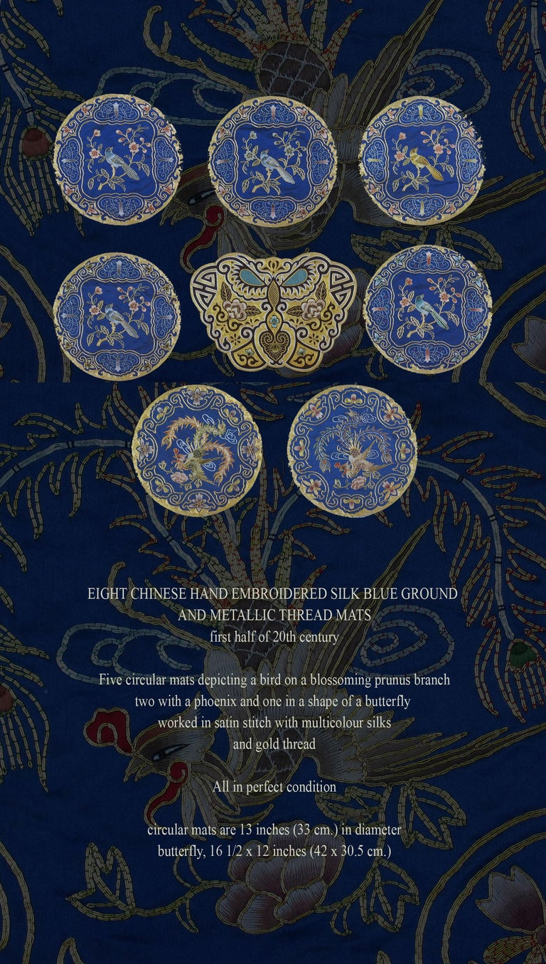 Eight Chinese Hand Embroidered Silk Blue Ground and Metallic Thread Mats For Sale 5