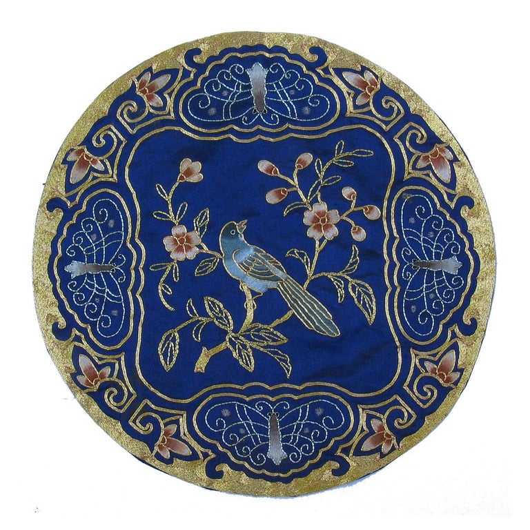Chinese Export Eight Chinese Hand Embroidered Silk Blue Ground and Metallic Thread Mats For Sale