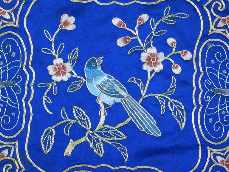 Eight Chinese Hand Embroidered Silk Blue Ground and Metallic Thread Mats In Good Condition For Sale In Ottawa, Ontario
