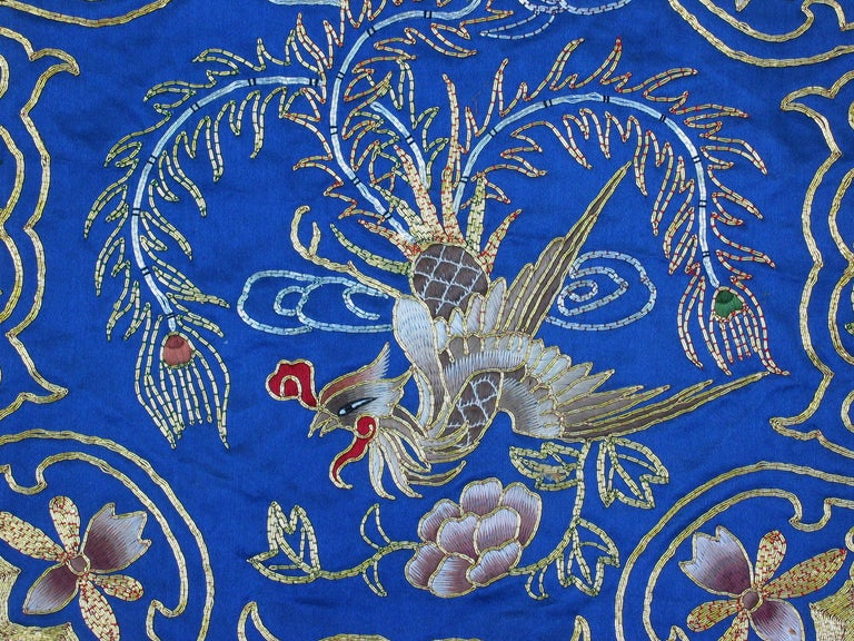 20th Century Eight Chinese Hand Embroidered Silk Blue Ground and Metallic Thread Mats For Sale