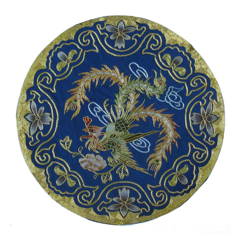 Eight Chinese Hand Embroidered Silk Blue Ground and Metallic Thread Mats For Sale 1