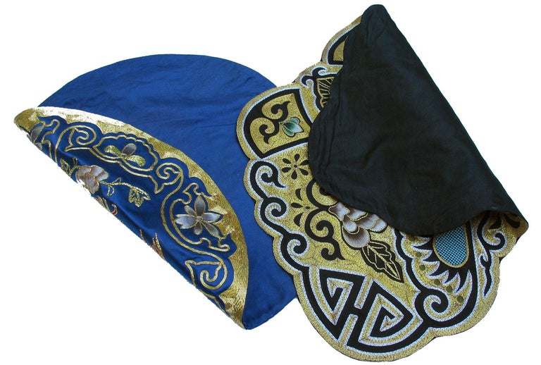 Eight Chinese Hand Embroidered Silk Blue Ground and Metallic Thread Mats For Sale 3