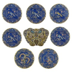 Eight Chinese Hand Embroidered Silk Blue Ground and Metallic Thread Mats