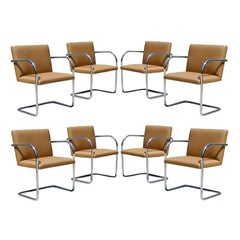Eight Chrome and Camel Colored Mies van der Rohe Tubular Brno Chairs by Knoll