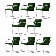 Eight Chrome & Green Velvet Mies van der Rohe Tubular Brno Chairs by Knoll