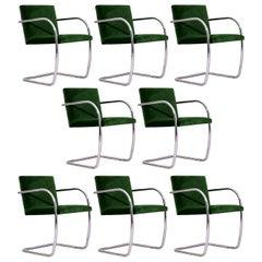 Eight Chrome Mies van der Rohe Tubular Brno Chairs by Knoll in Green Velvet
