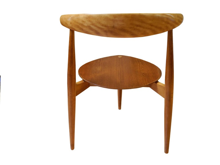 Eight Danish Modern Heart Chairs in Teak and Beech by Hans Wegner In Good Condition For Sale In Hudson, NY