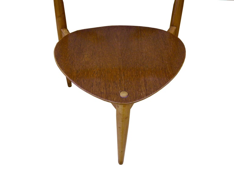 Eight Danish Modern Heart Chairs in Teak and Beech by Hans Wegner For Sale 2