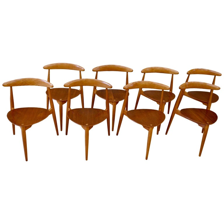 Eight Danish Modern Heart Chairs in Teak and Beech by Hans Wegner For Sale