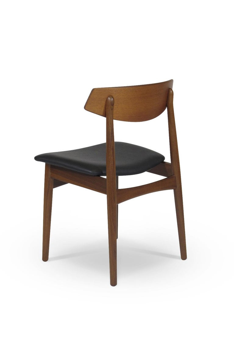 Mid-20th Century Eight Danish Teak Dining Chairs For Sale