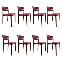 Eight Dining Chairs by Ejner Larsen & Aksel Bender Madsen Red Leather Teak Brown