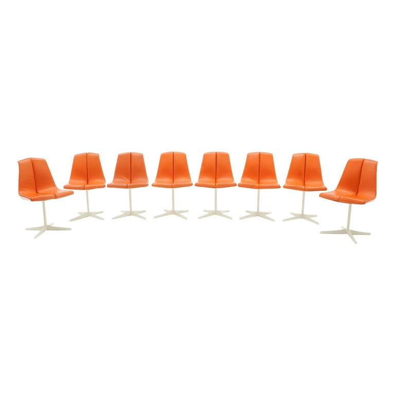 Eight Dining Chairs by Richard Schultz for Knoll. White Frames, Red Orange Seats For Sale