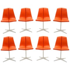 Eight Dining Chairs by Richard Schultz for Knoll, White Frames, Red Orange Seats