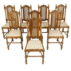 Eight Dining Chairs, Cane Back Chairs, Barley Twist Chairs, Scotland, 1920