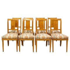 Eight Dining Empire Style Chairs Upholstered French Elm and Burr Elm, circa 1920