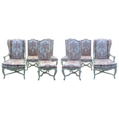 Eight Dining Room Chairs with Fortuny Style Fabric
