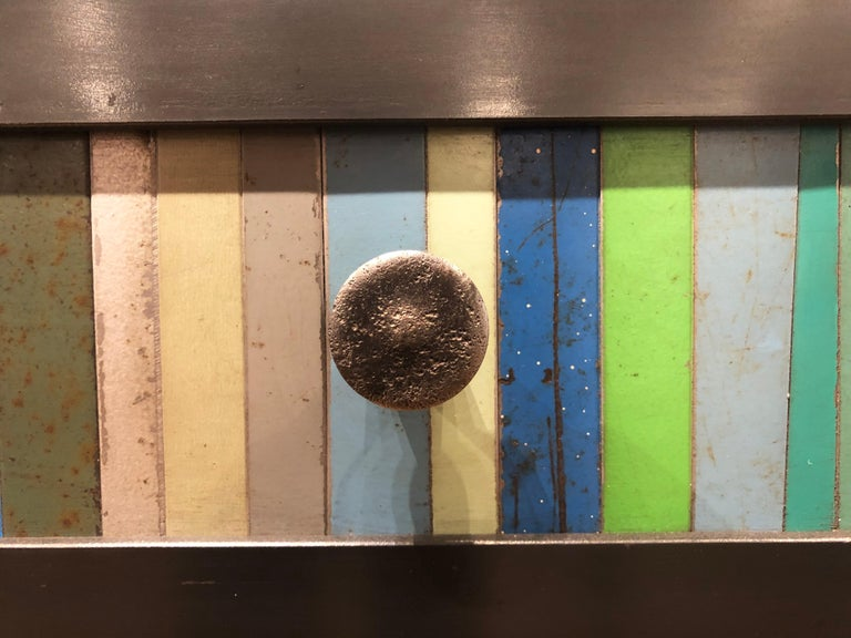 Jim Rose Steel Furniture - Eight-Drawer Blue Green Strip Quilt Counter In New Condition For Sale In Chicago, IL