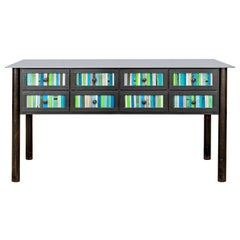 Jim Rose Steel Furniture - Eight-Drawer Blue Green Strip Quilt Counter