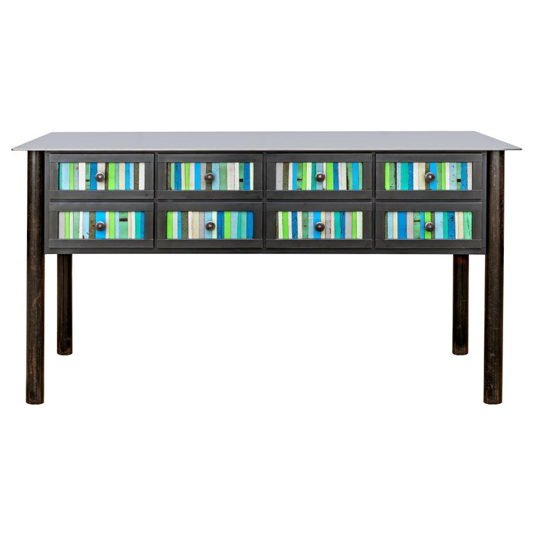 Jim Rose Steel Furniture - Eight-Drawer Blue Green Strip Quilt Counter For Sale