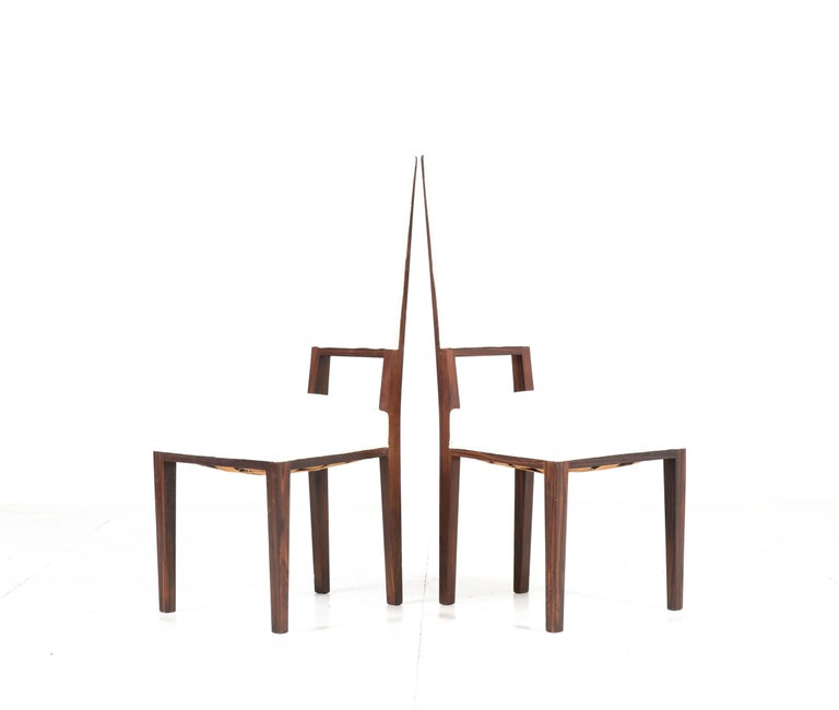 Dutch Eight Ebony Macassar Art Deco Dining Room Chairs by 't Woonhuys Amsterdam, 1920s For Sale